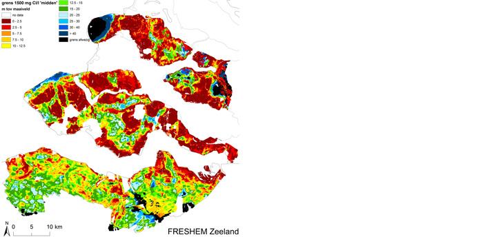 De afbeelding laat zien op welke diepte de overgang van zoet (minder dan 1500 milligram Chloride per liter) naar zout (meer dan…) grondwater zich bevindt.