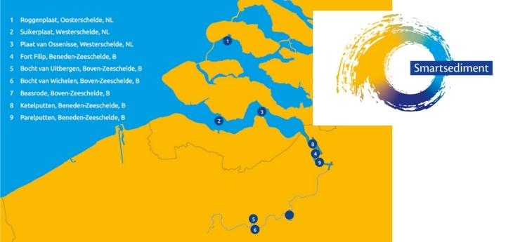 Kaart met locaties project Smartsediment