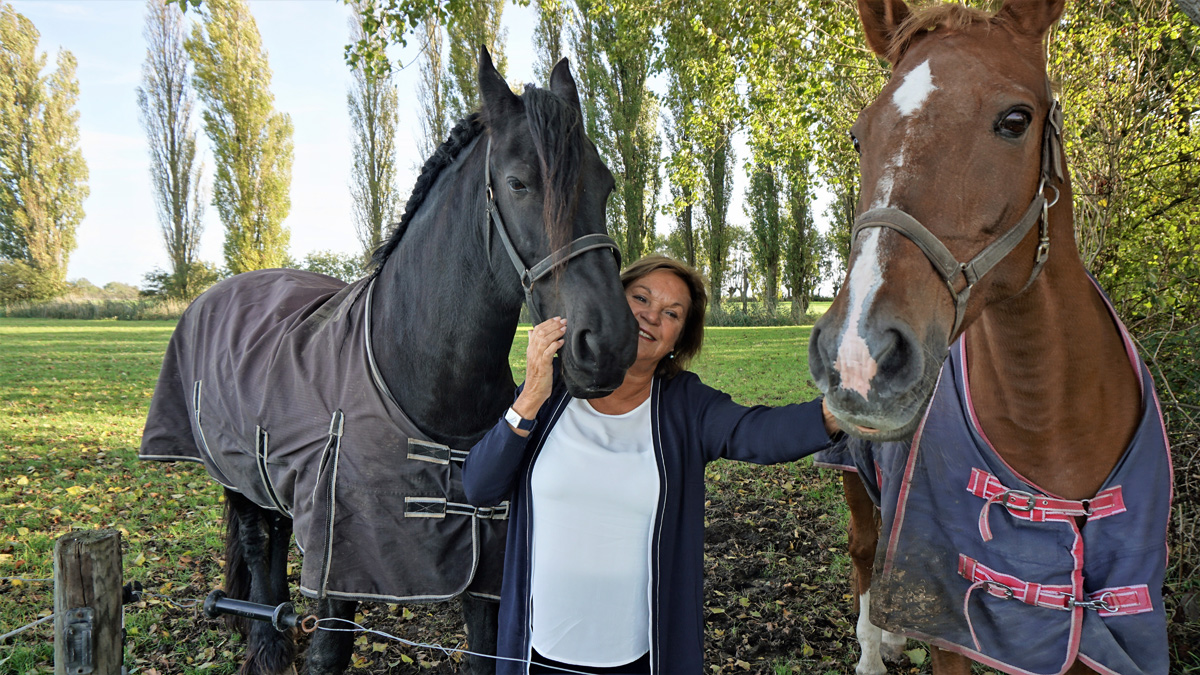 Huberdien Westerweele, van het platform Zeeuws Vitaal, poseert in de wei met twee van haar paarden.