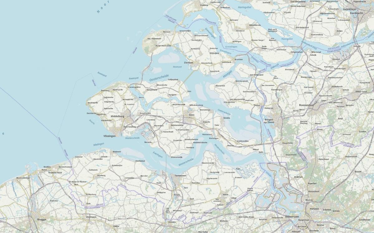 Deel van kaart van Zeeland