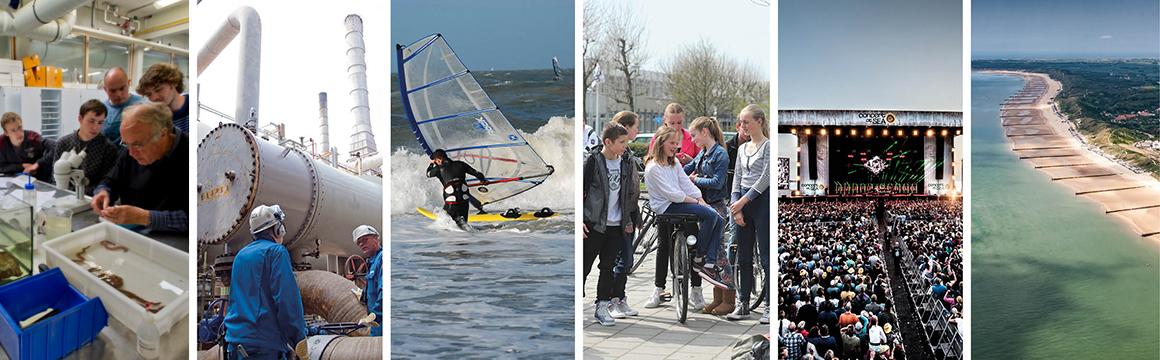 Collage: Visserij (mossels), Industrie, Recreatie (windsurfer), Jongeren, Evenement (Concert at Sea) en Kust