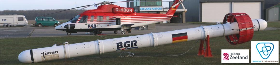 FRESHEM helikopter met meetinstrument op Vliegveld Midden-Zeeland