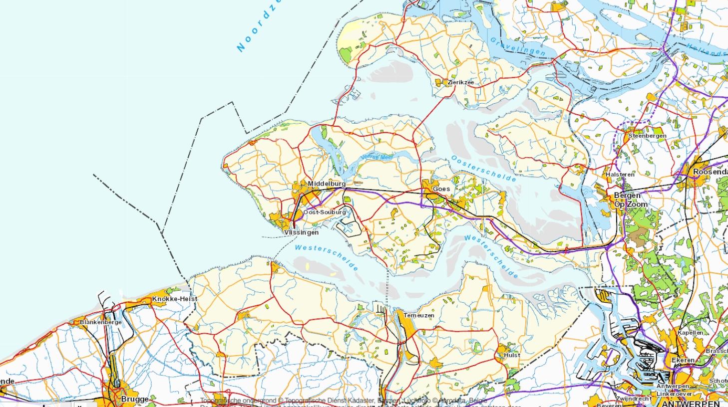 Deel van de kaart van Zeeland