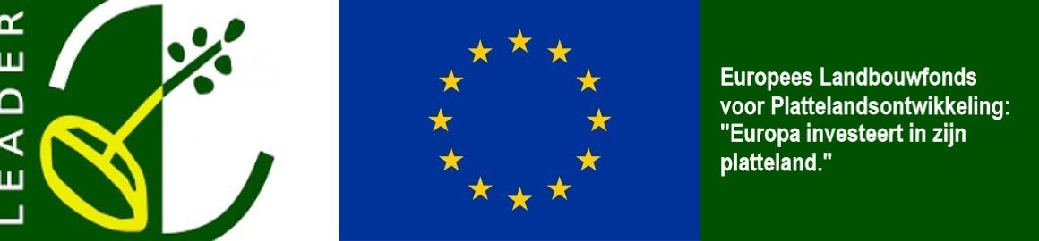 Logo van LEADER plus Europese vlag plus tekst over Europa dat in zijn platteland investeert.