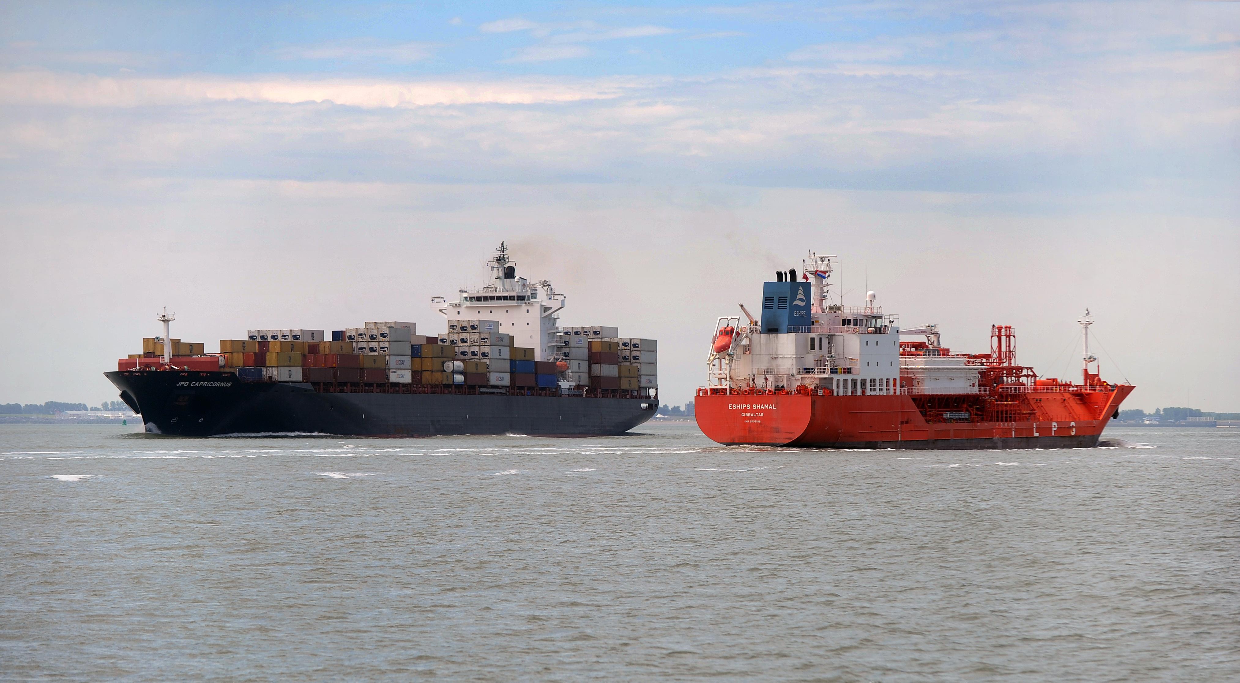Containerschepen op Westerschelde
