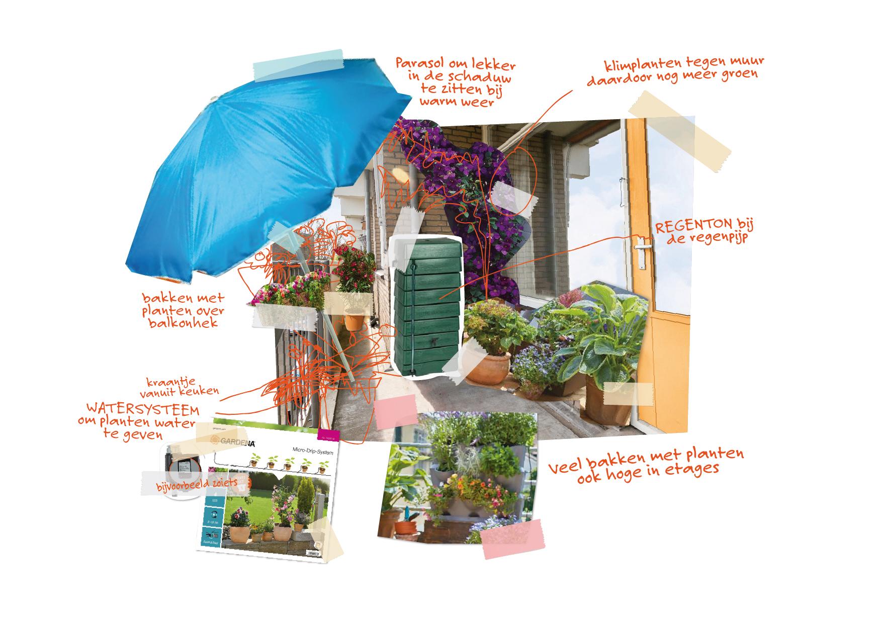 voorbeeld plakwerk groene tuin